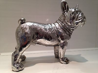 Large Standing Brushed Silver French Bulldog Ornament Dog Figurine Gift