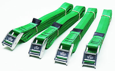 4-pack of 4-metre x 25mm Cam Buckle GREEN Endless Lashing 400kg; Cargo Straps