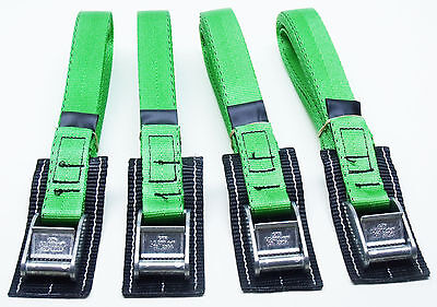 4-pack: 4.0m x 25mm Green PADDED Cam Buckle Endless Lashing 400kg; Cargo Straps