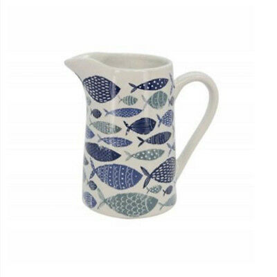 Gisela Graham - White and Blue Ceramic Fish Design Large Jug 19 x 18cm. Home