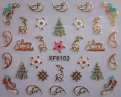 Christmas 3D Nail Art Stickers Decals Gold Snowflakes Reindeer Trees (XF6102)