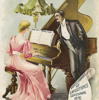 Chas. M. Stieff Piano Baltimore Factory View Music Store Advertising Trade Card