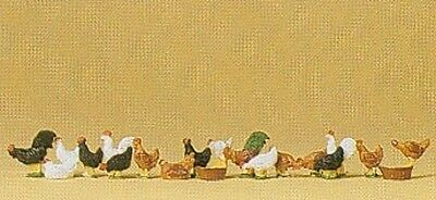 PREISER 14168 1:87 HO SCALE Chickens (Hens And Cocks)