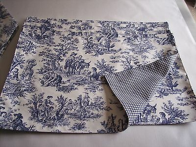 "NEW ITEM~WAVERLY NAVY RUSTIC TOILE/GINGHAM 13"" x 19"" REVERSIBLE PLACEMATS DINING"