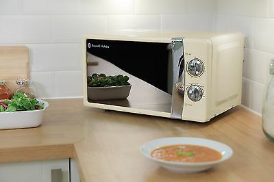 Cream Microwave Oven Russell Hobbs 5 Power Levels 17L 700W Manual Microwave NEW