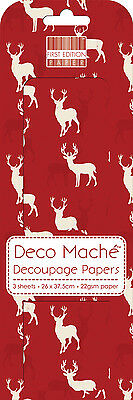 3 Sheets Of Decoupage / Deco Mache Paper First Edition Red Stag