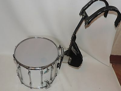 "Ludwig 15"" Marching Snare Drum with Carrier Blue Olive # 2005987 New Heads"