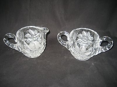 Vintage Lead Crystal Creamer and Sugar Bowl Etched Glass Starburst Motif