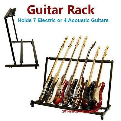 Guitar Rack 7x Electric 4x Acoustic Guitar Storage Stand Folding Padded Metal