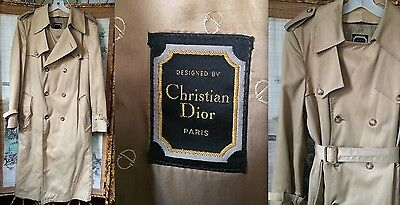Vtg Christian Dior Us Tan Classic Men's 40L Wool Lined Trench Coat Macintosh Guc