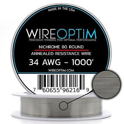 Nichrome 34 Gauge AWG Wire 1000' Roll .16mm , 16.38 Ohms/ft Resistance