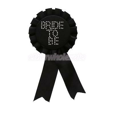 Glitter Bride to Be Ribbon Rosette Broche Badge Hen Night Party Favour Noir