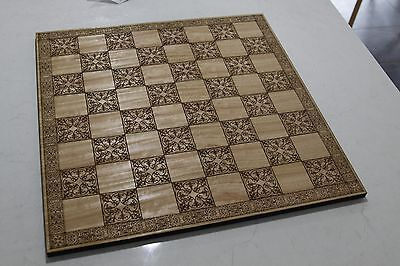 Oak Veneer Engraved Celtic Design Wooden Chess Board 500mm