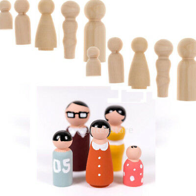 2 Family of 5 Wood Peg Dolls Wooden Figures Mini People DIY Craft Waldrf Toy