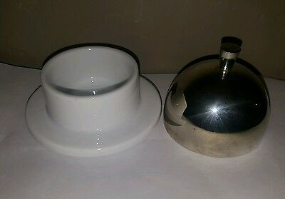 Small White Ceramic Butter Dish Serving Tray with Stainless Steel Lid