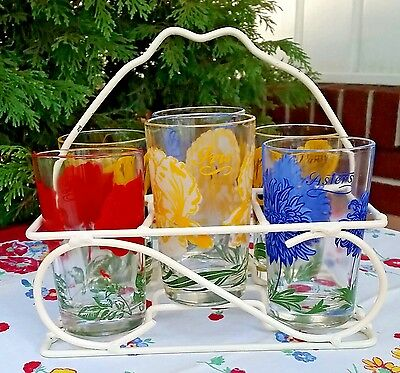 6 Boscul Peanut Butter Juice Glasses With Rack ~ Aster ~ Rose ~ Iris ~ Pansy