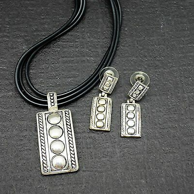 Embossed Silvertone Pendant Necklace With Matching Dangle Pierced Post Earrings