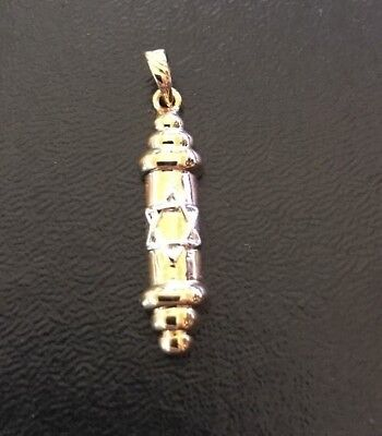 Mezuzah Pendant Star Of David From Israel Two Tone Gold Filled