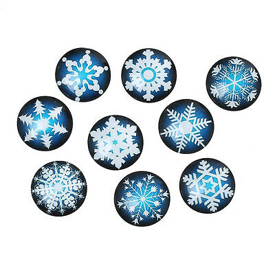 10 Snowflake Blue White Mixed Design Round Glass Cabochons Jewellery 20mm (053)