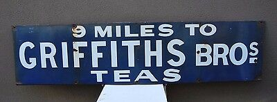 9 Miles to Griffiths Bros Tea Enamel Sign - Iconic Australian Railway sign OLD