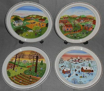 Set (4) Villeroy & Boch DESIGN NAIF PATTERN The Four Seasons WALL PLATES Laplau