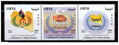 2016-Libya- Strip of 3 Stamps - 5th Anniversary of 17th February Revolution