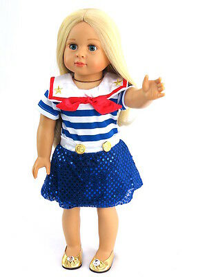 """Sailor Dress + Shoes Fits 18"""" American Girl Doll Clothes"""