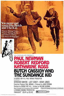 BUTCH CASSIDY AND THE SUNDANCE KID Movie Promo POSTER Paul Newman Robert Redford