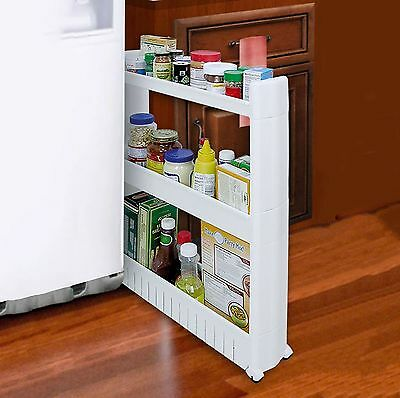 3 Tier Slim Slide Out Kitchen Bathroom Thin Storage Trolley Cart Rack Holder