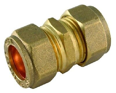 Brass REDUCING Straight Coupler - Compression Fitting Reducer- 8,10,12 15, 22mm