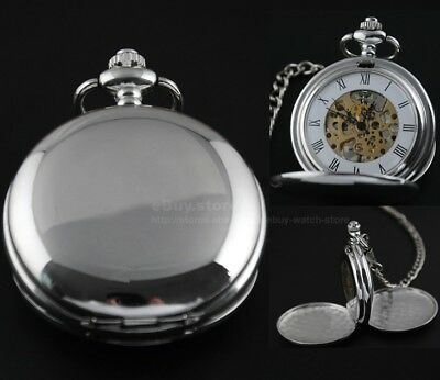 Men's Silver/Black Skeleton Stainless Steel Wind Up Mechanical Pocket Watch