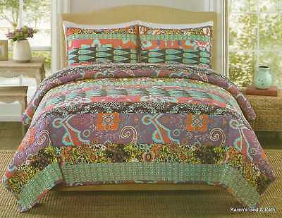 Floral Paisley Feathers Retro Chic Gypsy Quilt & Shams King 3pc Bedding Set