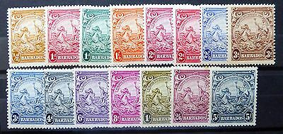 BARBADOS 1938 G.VI to 5/- SG248c to 256a Mounted Mint FP8063