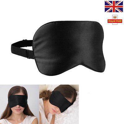 Pure Silk Soft Sleep Eye Mask Sleeping Eye Blindfold Black Train Travel Eyeshade