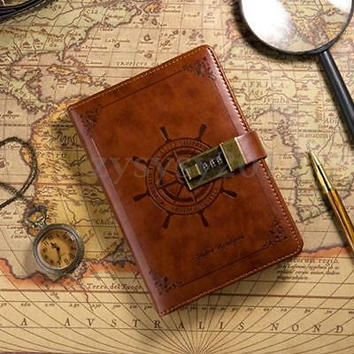 B6 Vintage Brown Leather Wired Journal Diary Note Book w/Password Code Lock UK