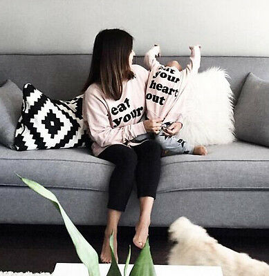 Mom and Baby Matching Letters Printed Family Hoodie Sweatshirt Tops Pullover Set