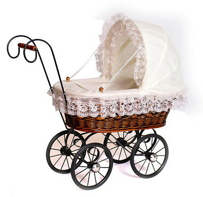 Doll's Antique Styled Wicker & Metal Framed Pram With Cream Lace Trim Decor