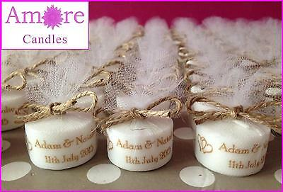 Personalised Vintage Style Tealight Candles Wedding Favours (Set of 21)