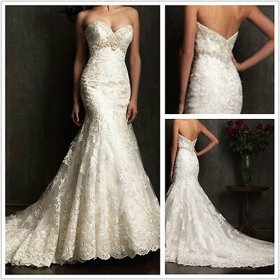 White/ivory lace Mermaid Wedding dress Bridal Gown stock size 6-8-10-12-14-16-18