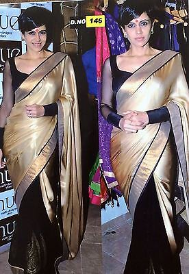 Indian bollywood Rep Party Georgette Black Gold saree Ladies Evening Designer