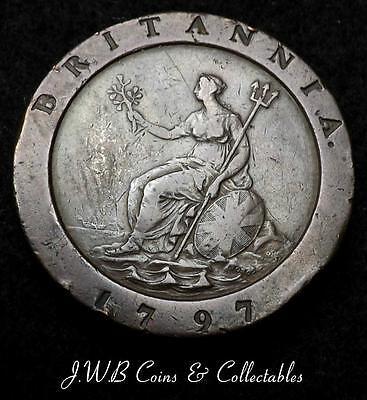1797 George III Cartwheel 2d Twopence Coin - Good Detail