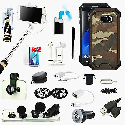 Camouflage Case Cover Fish Eye Monopod Accessory For Samsung Galaxy S7 Edge