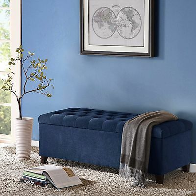 Madison Park Shandra II Bench Storage Ottoman in Tufted Blue Sued New Open Box