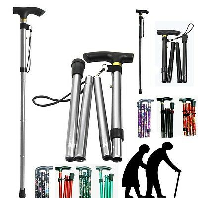 Walking Stick with Light Folding & Height Adjustable Foldable Free Standing *fld