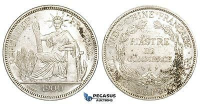 ZM150, French Indo-China, Piastre 1900-A, Paris, Silver, Lustrous AU, Stained