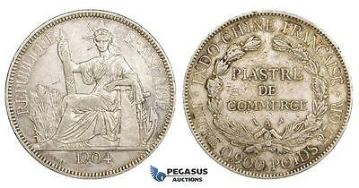 ZM152, French Indo-China, Piastre 1904-A, Paris, Silver, VF-XF, Marks