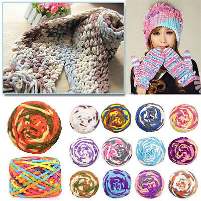 100g Super Soft Scarf Yarn Knitting Chunky Towelling Wool Ball Skein Multi-Color