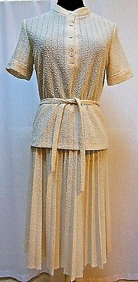 Vintage 60s/70s--MARTY GUTMACKER KNIT TOP & MATCHING SKIRT--Cream--Size M