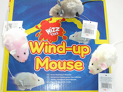 2 x WIND UP RUNNING MOUSE MICE.KIDS,CAT & KITTEN PLAY TOY PINK,GREY or CREAM.