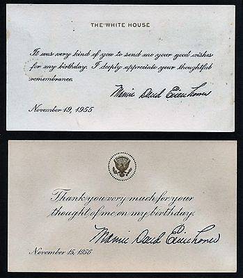 Two Mamie Eisenhower Engraved White House Cards Of Thanks - Birthday Remembrance